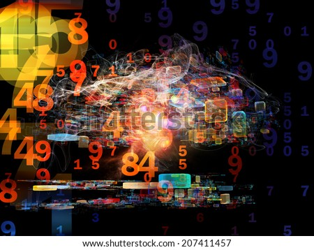 Number in Space series. Arrangement of numbers, fractal textures and lights on the subject of computers, mathematics, science and education - stock photo