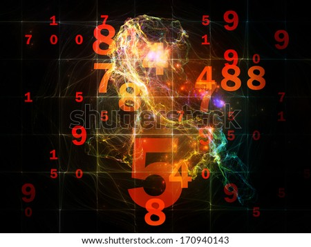 Number in Space series. Composition of numbers, fractal textures and lights on the subject of computers, mathematics, science and education - stock photo