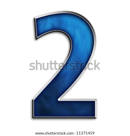 Number 2 in steel smokey blue isolated on white - stock photo