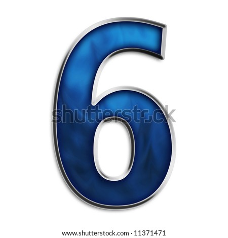 Number 6 in steel smokey blue isolated on white - stock photo