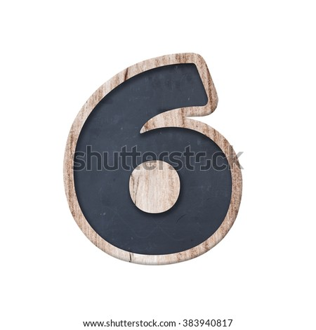 Number made from chalkboard.alphabet wood. complete English alphabet - collage of 10 isolated vintage wood letterpress printing blocks, scratched and stained by ink patina - stock photo