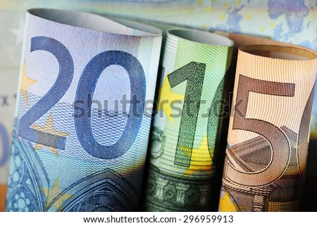 Number 2015 made of 20 euro, 100 euro and 50 euro bills. - stock photo