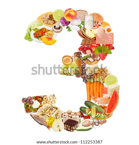 Number 3 made of food isolated on white background - stock photo