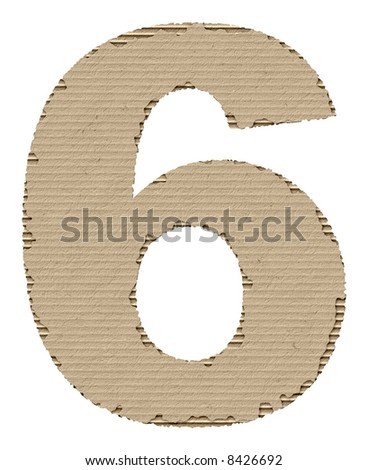 number 6 made of torn cardboard - stock photo