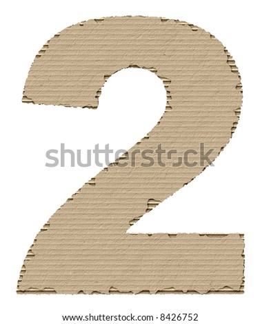 number 2 made of torn cardboard - stock photo