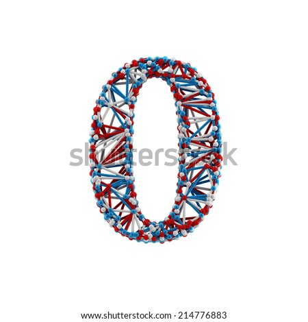 Number 0. Molecule alphabet isolated on white background. DNA font. - stock photo