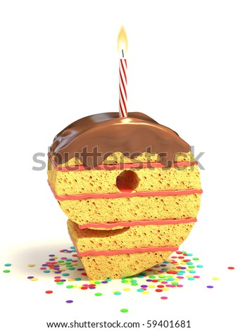 number nine shaped chocolate birthday cake with lit candle and confetti - stock photo