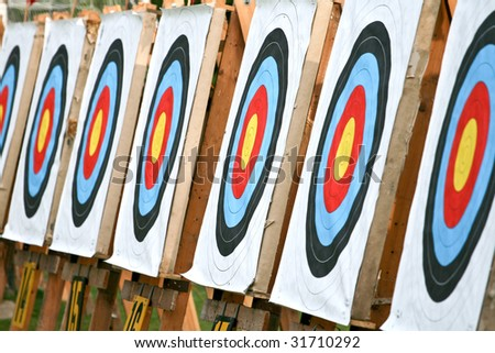 Number of blank archery targets in a row - stock photo