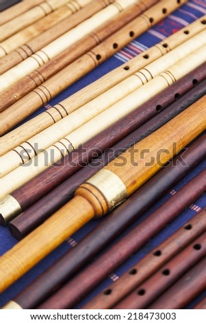 Number of flutes exposed to a fair - stock photo