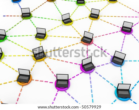number of laptops on a colored cells - stock photo