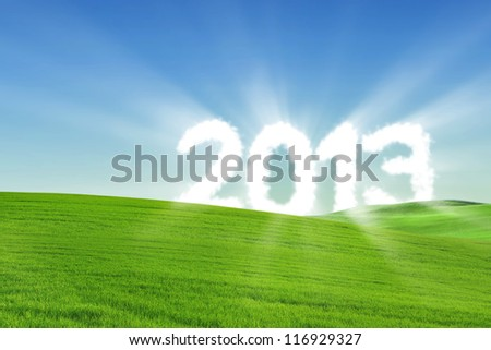 Number of 2013 made of cloud on the green hill with clear sky - stock photo