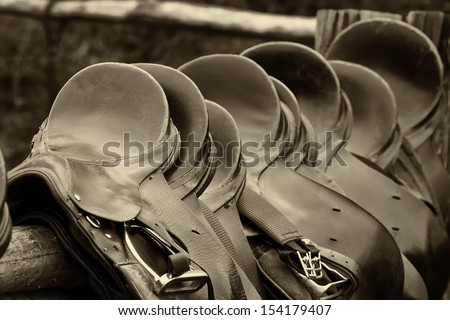 number of of saddles, sepia - stock photo