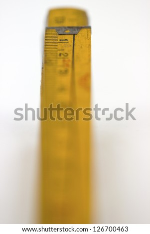 Number 1 on a wooden meter, isolated object - stock photo