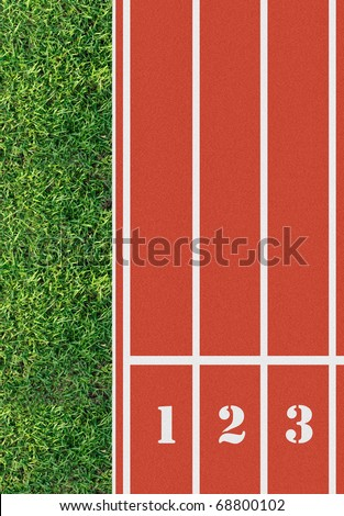 Number on the start of a running track from bird's eye view - stock photo