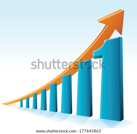 Number One Graph / This composition is about a business graph that shows the number one in a global context. - stock photo