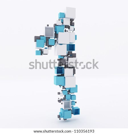 Number One Made of Cubes 3d - stock photo