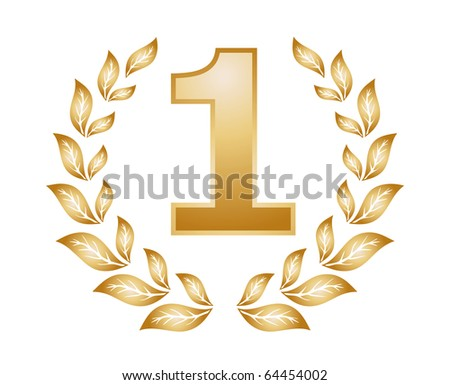 number one top golden Medal of Achievement - stock photo