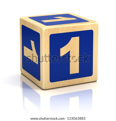 number one 1 wooden blocks font - stock photo