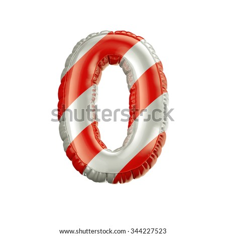 Number 0. Red and white Balloon font isolated on White Background.Birthday alphabet. - stock photo