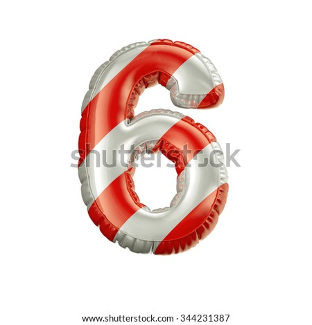 Number 6. Red and white Balloon font isolated on White Background.Birthday alphabet. - stock photo