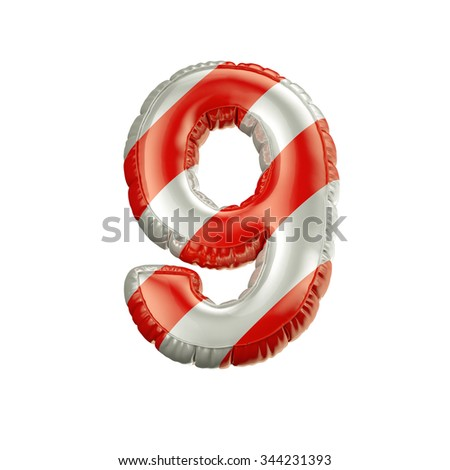 Number 9. Red and white Balloon font isolated on White Background.Birthday alphabet. - stock photo