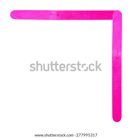 Number 7 separated by pink wood stick on isolated white background - stock photo