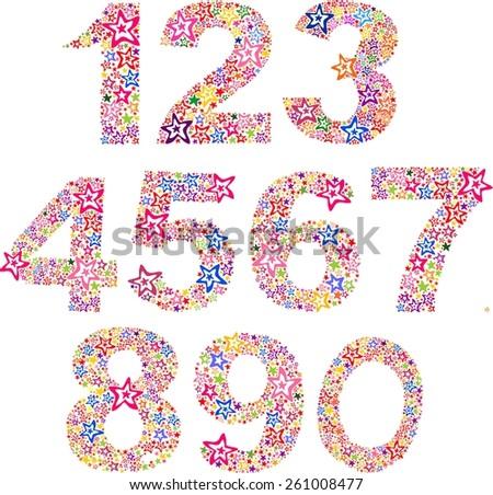 Number set made of stars. illustration  - stock photo