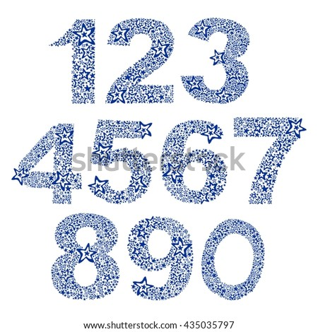 Number set made of stars. Number from 0 to 9 over white background.  illustration  - stock photo