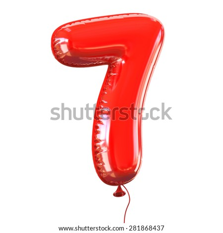 number seven - 7 balloon font - stock photo