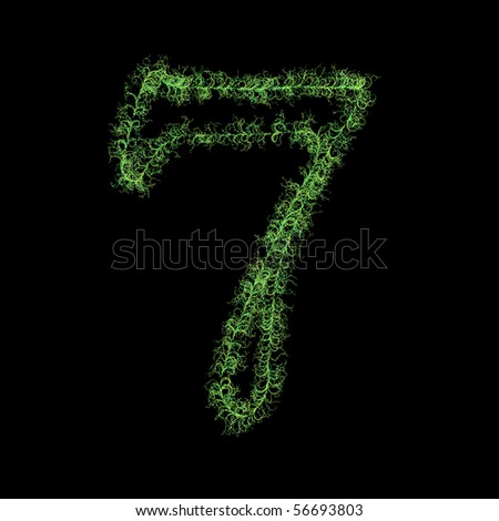 Number seven from plants - stock photo