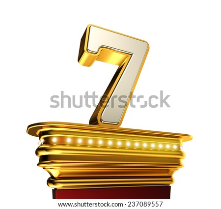 Number Seven on a golden platform with brilliant lights over white background - stock photo