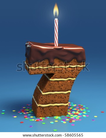 number seven shaped birthday cake with candle - stock photo