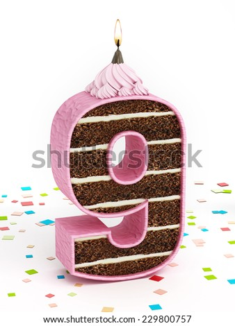 Number 9 shaped chocolate birthday cake with lit candle. - stock photo