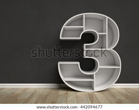 Number 3 shaped shelves 3d rendering - stock photo