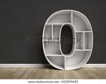 Number 0 shaped shelves 3d rendering - stock photo