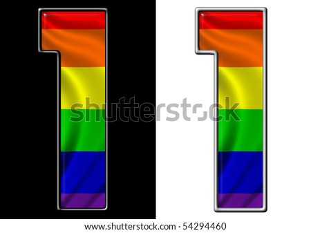 number 1 showing rainbow flag - stock photo