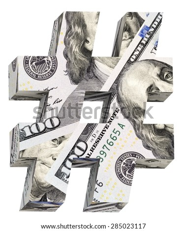 Number sign from dollar bill alphabet set isolated over white. Computer generated 3D photo rendering. - stock photo