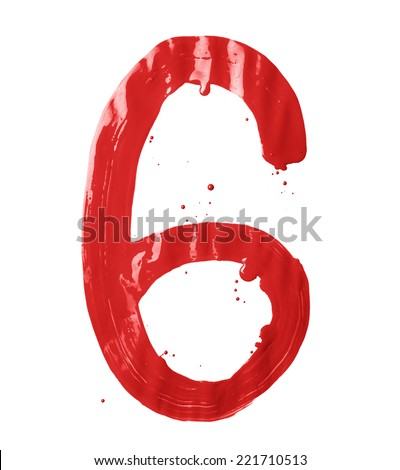Number six digit character hand drawn with the oil paint brush strokes isolated over the white background - stock photo