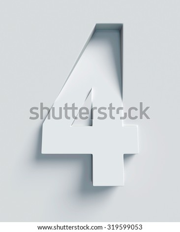 Number 4 slanted 3d font engraved and extruded from the surface - stock photo