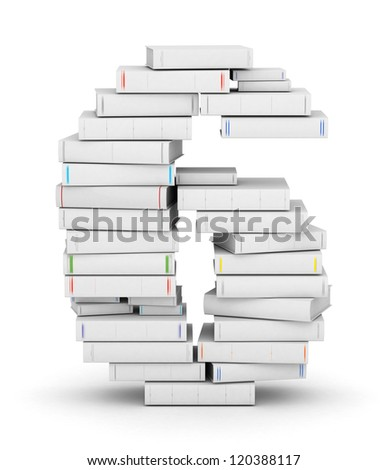 Number 6, stacked from many blank title books in column - stock photo