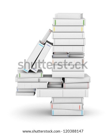 Number 4, stacked from many blank title books in column - stock photo