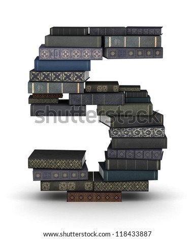 Number 5, stacked from many  books in pile - stock photo