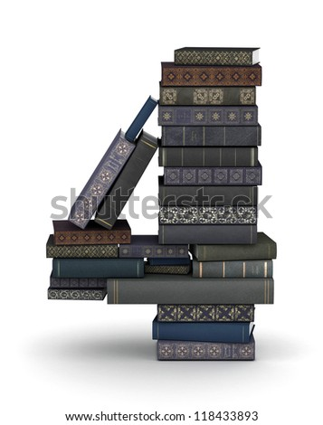 Number 4, stacked from many  books in pile - stock photo