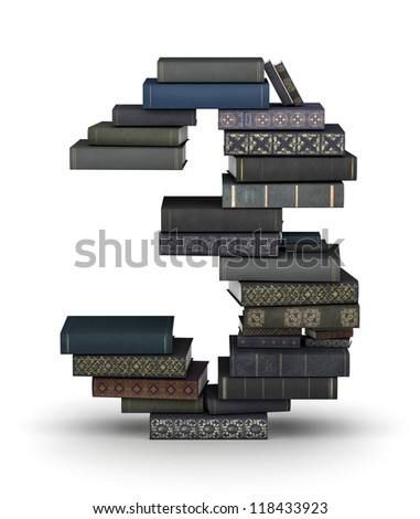 Number 3, stacked from many  books in pile - stock photo