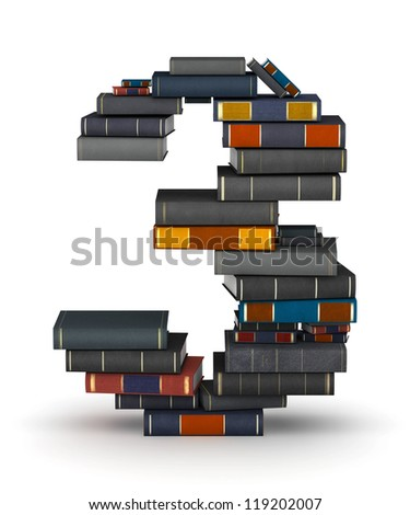 Number 3, stacked from many encyclopedia books in pile - stock photo