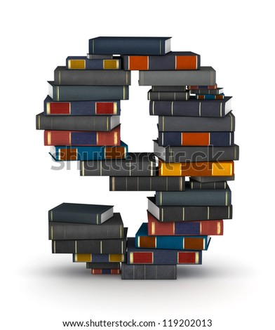 Number 9, stacked from many encyclopedia books in pile - stock photo