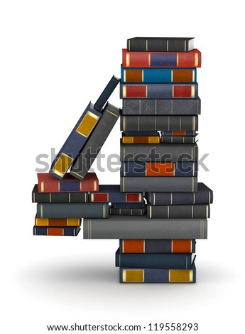 Number 4, stacked from many encyclopedia books in pile - stock photo