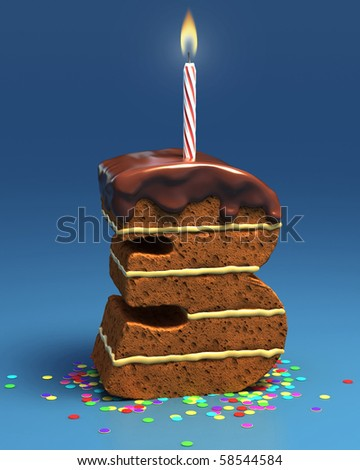 number three shaped birthday cake with candle - stock photo