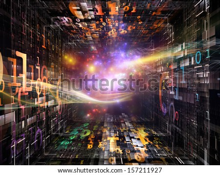 Number Tunnel series. Artistic background made of colorful numbers and light waves in perspective for use with projects on computers, mathematics, science and education - stock photo