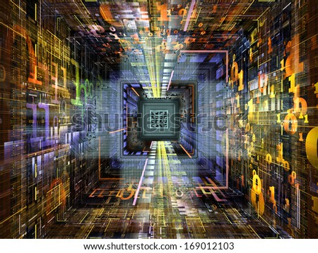 Number Tunnel series. Backdrop of CPU chip, colorful numbers and fractal elements in perspective on the subject of computers, mathematics, science and education - stock photo